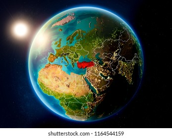 Sunset above Turkey highlighted in red on planet Earth with visible country borders. 3D illustration. Elements of this image furnished by NASA.