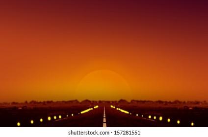 Sunset at Airplane Runway