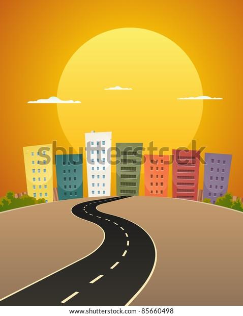 Sunset Avenue/ Illustration of a cartoon city street road in the sunrise