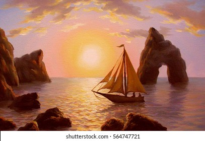 Sunset with cliff and sailboat, oil on canvas