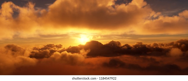 Sunset in the clouds. The bright disk of the sun is partly hidden by the clouds. Photoreal 3D illustration.