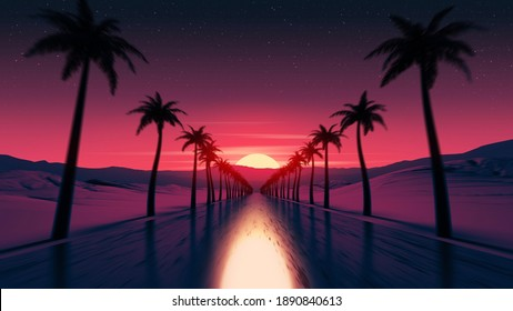 Sunset drive on tropical ocean coast road. Pink colored sun light reflection. Palm tree silhouettes along the highway. Mountains on skyline. Countryside trip. Retro wave style 3D Render illustration