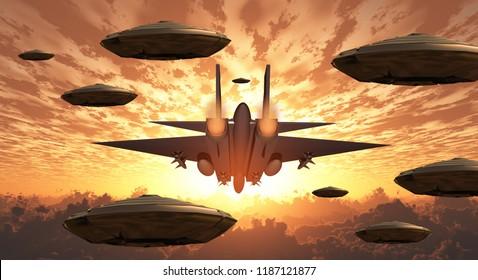 Sunset. Flying saucers and jet plane together. 3D rendering