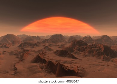 sunset of a giant star on a distant world
