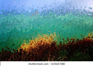 sunset in Ibiza, the last ray of sun, tribute to Pollock, abstract expressionism, art, digital, abstract illustration with mosaic effects of gradient colors yellow, green, blue, red,