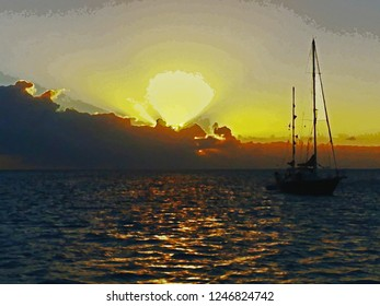 Sunset Ketch Watercolor