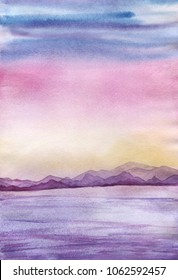 Sunset landscape with sea and mountains, in a pink, blue, yellow, violet, lilac pastel background colors. Hand drawn real watercolor illustration.