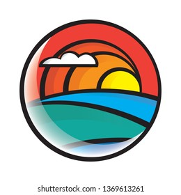 Sunset Logo - circle, rainbow, stained glass on white