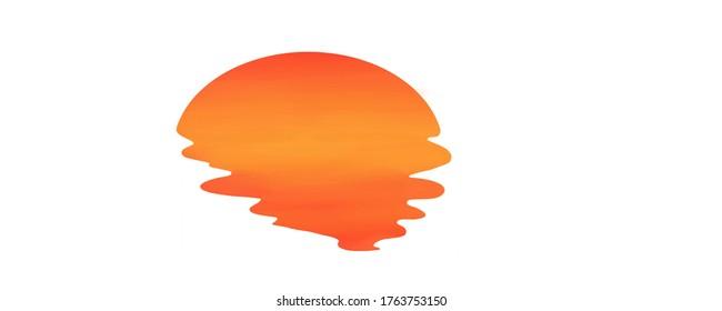 Sunset Melting. Sun Illustration. Sun melting. Digital art