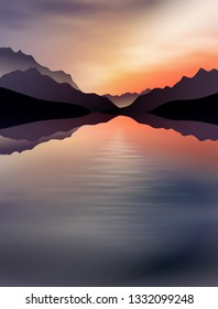 a sunset in the mountains with a lake in the front