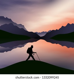 a sunset in the mountains with a silhouette of a hiker in the front