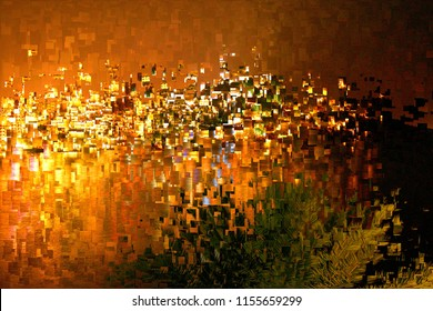 Sunset in New York, the city that never sleeps, tribute to Pollock, abstract expressionism, art, digital, abstract illustration with mosaic effects of gradient colors orange, red, yellow, golden,