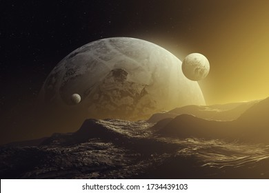 sunset on alien planet, planets and moons in colorful light, fantasy space 3d illustration