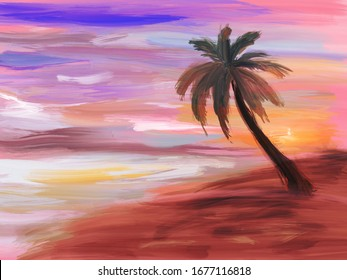 Sunset on the beach, digital drawing, oil paint imitation, abstract background