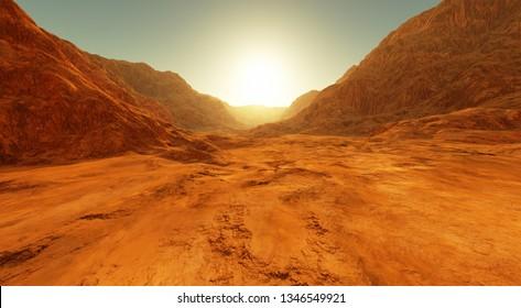 Sunset on Mars. Martian landscape, dry river bed on Mars. 3D rendering