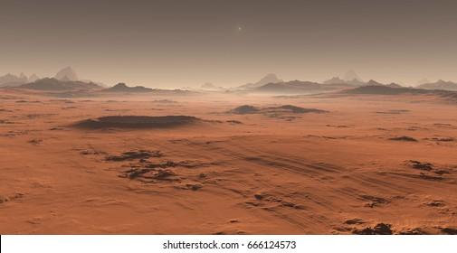 Sunset on Mars. Martian landscape. 3D illustration