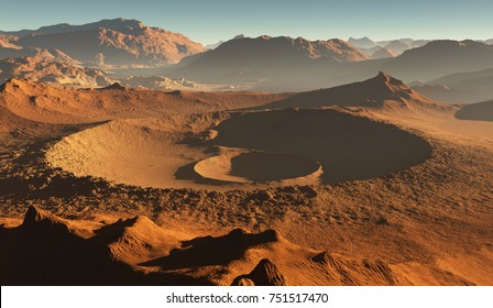 Sunset on Mars. Martian landscape, impact craters on Mars. 3D illustration