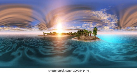 sunset on a tropical beach with palm trees, hdri, Environment map, Spherical panorama, panorama 360, 3D rendering