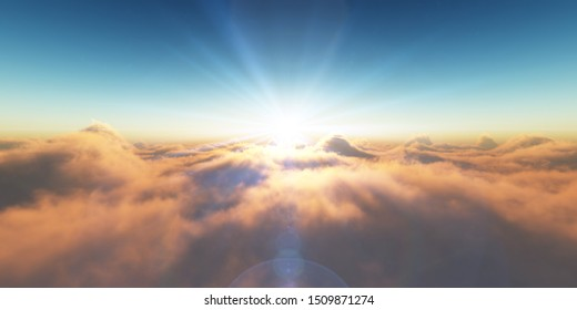 sunset over the clouds, 3D rendering