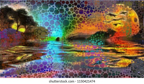 Sunset over forest lake. Circles pattern. 3D rendering