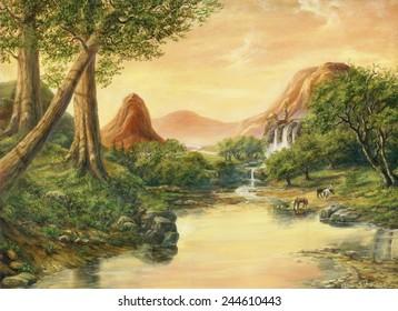 Sunset. Sergey Voevodin 2001. oil canvas painting