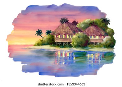 Sunset straw bungalow