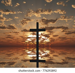 Sunset or sunrise. Cross reflects in the water. 3D rendering