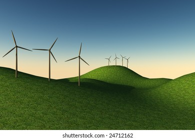 sunset with turbines