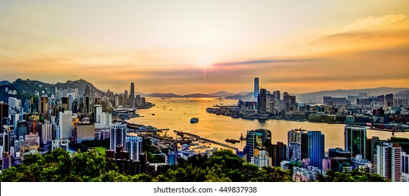 Sunset at Victoria Harbour Hong Kong