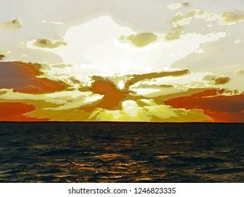 Sunset Watercolor in Bahamas
