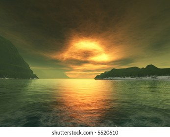 sunset of a yellow giant star on a distant alien world with a greenish atmosphere
