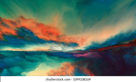 Sunsets of Never series. Landscape of virtual paint.