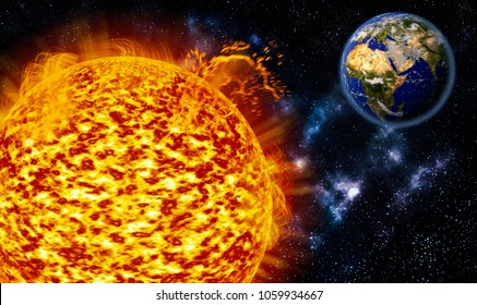 sunspot explosions sending extreme UV radiation to Earth,3d animation