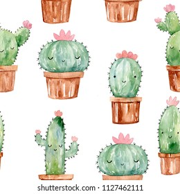 Super cute cactus with face. House plants and succulents in brown pots background. Watercolor hand drawn illustration. Seamles pattern .