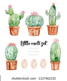 Super cute cactus with face. House plants and succulents in brown pots. Watercolor hand drawn illustration.