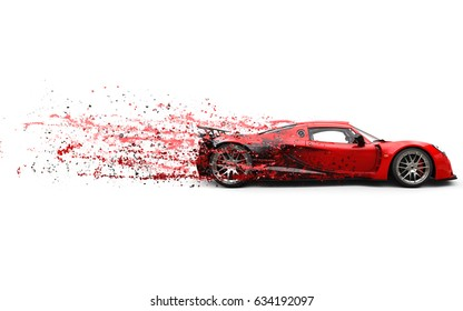 Super fast red racing car - 3D Illustration