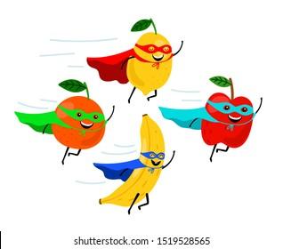 Super fruits. Smiling fruit superheroes illustration, colorful funny vegetarian food super heroes, cartoon fruity characters