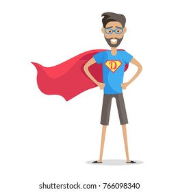 Super hero daddy in superhero costume. Smiling man in superhero costume with beard and glasses. Happy super man. Cartoon superhero. Superhero icon. Isolated object on white background. Illustration.