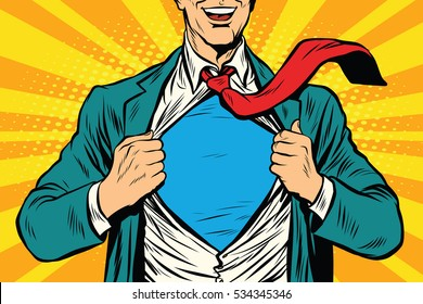Super hero male businessman pop art retro  illustration