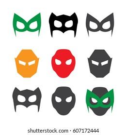 Super hero masks illustration set. Hero masks
