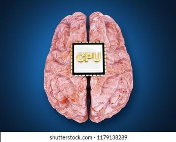 super human brain bionic brain concept 3d rendering illustration