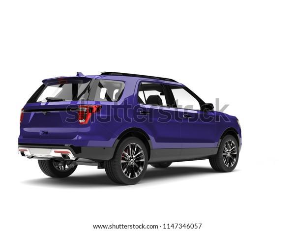 Super purple modern SUV car - tail light shot - 3D Illustration