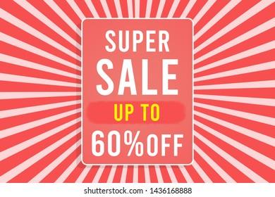 Super Sale up to 60% background illustration Stock Photo, sale concept,