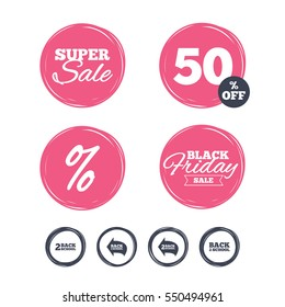 Super sale and black friday stickers. Back to school icons. Studies after the holidays signs symbols. Shopping labels.