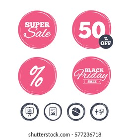 Super sale and black friday stickers. File document with diagram. Pie chart icon. Presentation billboard symbol. Supply and demand. Shopping labels.