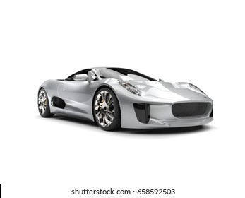 Super silver elegant sports car - beauty shot - 3D Illustration