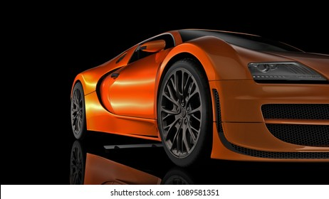 Super sport car in perspective - 3d render.
