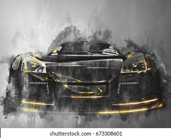 Super sports car - black and white illustration with yellow glowing edges - 3D Illustration