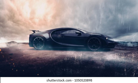 Super sports car - side view (with grunge overlay) - 3d illustration