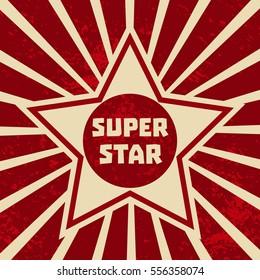 Super star banner. Starring shape. Success superstar Victory winning Concept. Design idea for Leader boss, sport hero, movie actor red carpet awarding ceremony background illustration